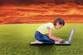 Chidren activities on laptop isolated in white — Stockfoto