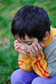 Sad children in nature outdoor — Stock Photo