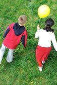 Happy children in nature outdoor — Stock Photo
