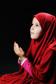 Muslim pray, little girl — Stock Photo