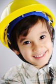 Little cute positive builder — Stock Photo