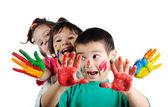 Happy children with colors — Stock Photo