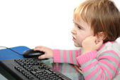 Baby girl on laptop — Foto de Stock