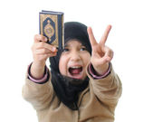 Muslim girl - intifada girl with Koran — ストック写真