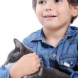 Boy with black cat — Stock Photo