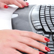 Stock Photo: Female hands typing