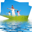 Happy famili, meadow, river: card design — Stock Photo #21428093