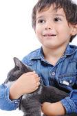 Boy with black cat — Stock Photo
