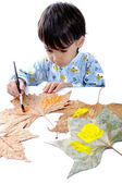 Little boy looking for a drawing concept — Stock Photo