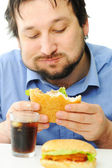 Fast food, burger and coke — Stock Photo