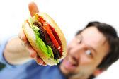 Hamburguesa, comida rápida, preparación — Foto de Stock