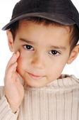 Boy with denim cap — Stock Photo
