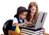 Children activities on laptop put on desk, isolated — Stockfoto