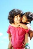 Happy Kids with Sky Background — Stock Photo