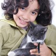 Stock Photo: Girl with cat