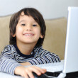 Childhood, laptop, learning and playing — Foto de Stock