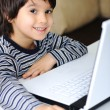 Childhood, laptop, learning and playing — Stockfoto