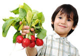 Kid with vegetables in hand — Stock Photo