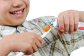 Little kid preparing for teeth brushing — Stock Photo