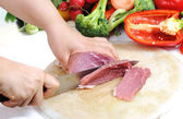 Preparing meal, meat and vegetables — Stock Photo