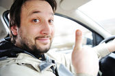 Male driver in car — Stock Photo