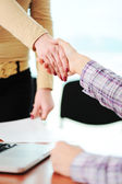 Closing a successful deal with a handshake. Congratulations! Getting a new job. — Stock Photo