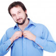 White man with beard wearing blue shirt — Stock Photo
