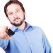 Man with remote control — Stock Photo