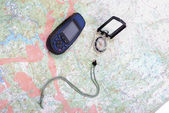 Map, gps and compass — Stock Photo