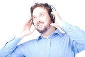 Gelukkig man met hoofdtelefoon — Stockfoto