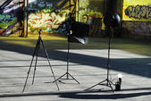 Photography setup with some equipment — Stock Photo