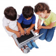 Chidren activities on laptop isolated in white — Стоковая фотография