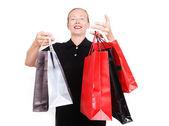 пожилая белая женщина с сумки для покупок — Стоковое фото