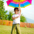 Children activity, umbrella, summer, play, funny — Stock Photo