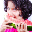 Stock Photo: Girl and water melon
