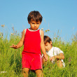 Happy unforgetable childhood on green meadow against blue sky — Stock Photo