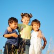 Happy children standing in nature outdoor — Stock Photo #21467601