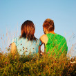 Two young together in beautiful nature - Stock Photo