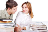 Male and female student learning and helping each other kindly — Stock Photo