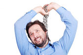 Young man killing him self with chain — Stock Photo