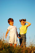Romantic vision of two children standing together outdoor — Foto de Stock