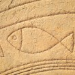 Fish in stone, old symbol, art - Stock Photo