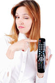 Attractive brunette pointing on turn off button — Stock Photo