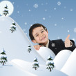 Conceptual photo combined with illustration. New year, winter and snow, child and happiness for your card. — Stockfoto