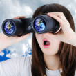 Stock Photo: Girl with binoculars