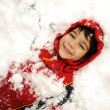 Cute kid in snow, snowtime, winter, happiness — Stock Photo