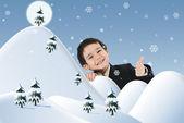 Koncepcyjne zdjęcie w połączeniu z ilustracji. Nowy rok, zimy i śniegu, dziecko i szczęście do Twojej karty. — Zdjęcie stockowe