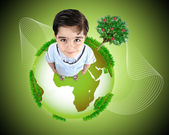 Kid standing on planet Earth. Concept, photo and illustration. — Stock Photo