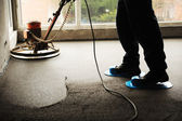 Equating and leveling fresh cement for the floor — Stock Photo