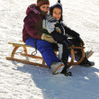 Happy children on snow — Stok Fotoğraf #21490003